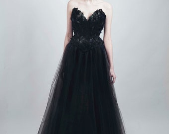 Black Swan Feather Couture Corset Full Length Tulle Gown