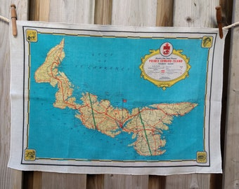 PEI Vintage Map Tea Towel - FREE SHIPPING