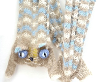 Miss Misty - Chevron Cat Scarf - Beige White Light Blue stripes - Mohair blend