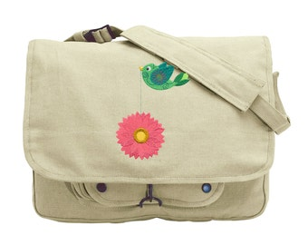 Tweet Chrysanthemum 2 Embroidered Canvas Messenger Bag