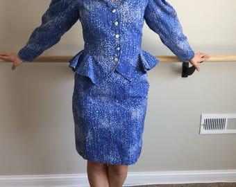 Vintage 80's Peplum Skirt Suit