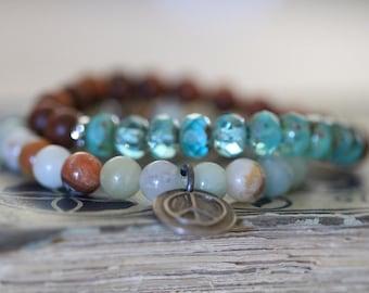 Fragrant Sandalwood Bracelet, Earthy, Czech Glass, Bead Bracelet, Brown, Aqua Blue, Stretch Bracelet, Stack Bracelet, 8mm, Dezine Studio