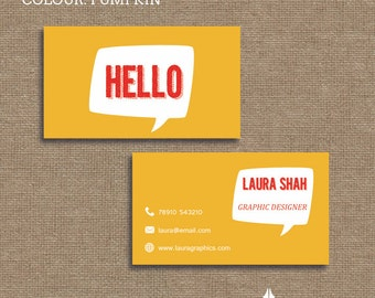 Printable stylish elegant retro, typography, Hello business card, calling card for your business in a choice of 4 colours