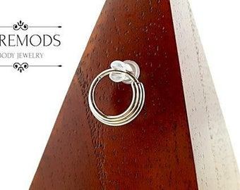 Titanium Triple Stacked Septum Ring 16G (you pick your own custom color)