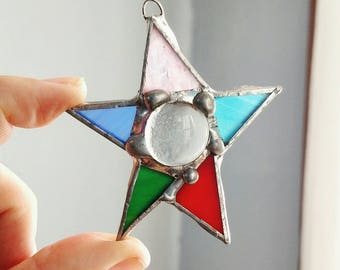 Multi-colored Stained Glass Star- Celestial Ornament- Star Suncatcher- Celestial Suncatcher- Cosmic Vibes- Whimsical Gift