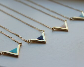 Gold Triangle Necklace, Triangle Jewelry Geometric Necklace Turquoise Mint Labradorite Lapis Marble Stone Minimalist Jewelry Dainty Necklace