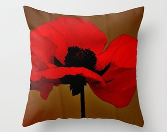 Deep Red Poppy Throw Pillow Cover, Mysterious Red Oriental Poppies,Pretty Lady Dancing in the Moonlight, Festive, Chic, Floral Decor,Harvest