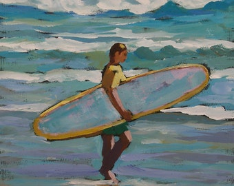 "Surfer Painting- Archival Print- 6""x6"" -""October Swell"""