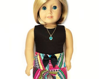 American Doll Clothes - 18 inch Doll Clothes – Print Shorts, Aztec, Multi-color, Turquoise, Black, Tribal, Fits dolls such as American Girl