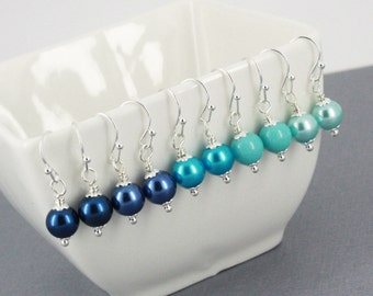 Choose Your Colour Pearl Earrings Bridesmaid Gift Shades of Blue Earrings Navy Royal Blue Turquoise Aqua Wedding Jewelry Earrings