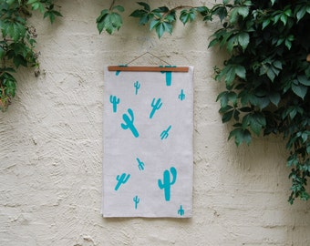 Teal 'Cactus' Printed Table Runner 150cm - Natural Linen
