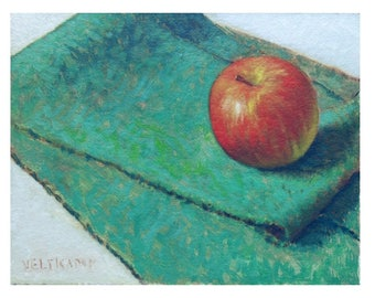 oil painting // still life of apple // artistic work of art // hand-painted impressionism contemporary art
