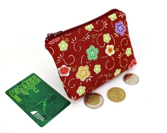 floral pouch, coin wallet, zippered coin purse, change pouch, coin pouch, Kimono fabric pouch, Plum Blossoms Red