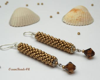 Gold Earings with Brown Swarovsky Crystals