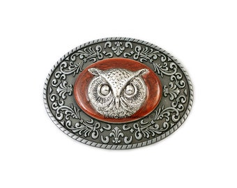 Owl Head Belt Buckle Inlaid in Hand Painted Metallic Copper Enamel Neo Victorian Inspired with Intricate Brocade Etchings with Color Options