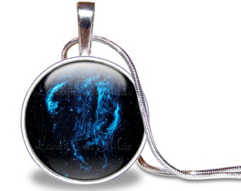 Cygnus Loop Necklace, Veil Nebula Pendant, Galaxy Jewelry, Galaxy Necklace, Space Necklace, Skull, Outer Space Jewelry, Black and Blue
