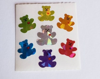Vtg Sandylion Prism Rainbow Teddy Bears Sticker Mod Sandylion prismatic