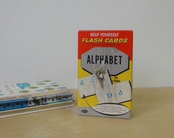 Vintage Help Yourself Illustrated Flash Cards Alphabet - Boxed Set Whitman Publishing 1960