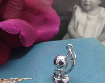 World Map Globe Travel Charm, Sterling Silver, Vintage Style, Moveable