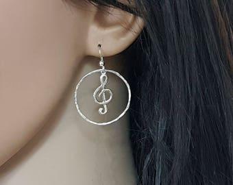 Treble clef earrings, music note jewelry, gift for music lover, teacher, musician, musical earrings