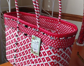 Red and white multipurpose handmade handbag