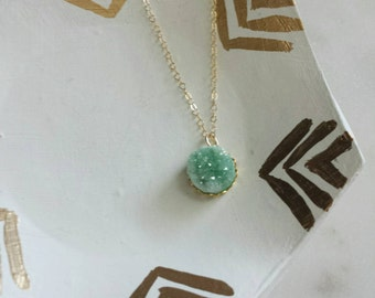 Tiny druzy pendant necklace in mint with personalized disc on gold filled chain, modern personalized jewelry