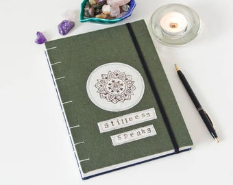 Yoga Journal - 144-Page Unlined Journal Handmade with Mandala Stencil Linen Cover - Great Yoga Gifts!