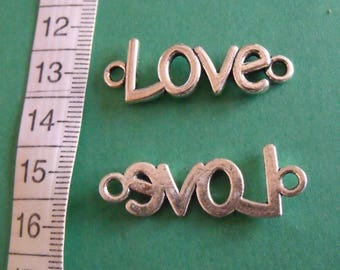 2 silver LOVE connectors 36mmx11mm