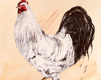 Silver Lace - Original Art Painting - Rooster-Farmhouse-Barn-Primitive Art