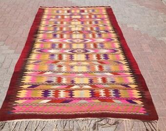 "8'7"" x 6' colorful  Vintage Turkish kilim rug, area rug, kilim rug, kelim rug, vintage rug, bohemian rug, Turkish rug, rug, tribal rug, 275"