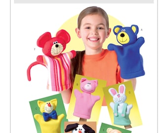 Sewing Pattern for Animal Hand Puppets, Butterick Craft Pattern 4209, Hand Puppets, Child's Toy Puppets Collection Pattern