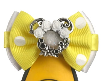 """White/Yellow Flower Crown Minnie Magic Band Bow or Apple Watch Bow, 2"""" Mini Hair Bow, Hat Bow - Disney Parks Collection"""