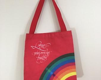 80s Hallmark Love Makes Everything Beautiful Rainbow Valentine's Day Tote Bag