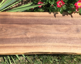 Live Edge Cutting Board and Wood Serving Tray of Walnut