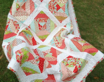 "Girl's Modern Block Patchwork Lap Quilt; Throw sized quilt made from ""Little Ruby"" fabric line."
