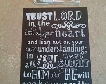 Trust in the Lord with All Your Heart - Proverbs 3:5&6 - Hand Drawn Chalkboard Style Verse - Christian Gift - Home Decor