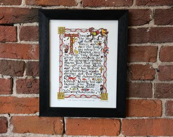 Macbeth - The Witches Chant - Illuminated Manuscript Page - Limited Edition Fine Art Print - frame not included