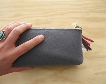 Gray Felt Pouch - Wool Felt Zipper Pouch with Metal Zipper, Boxed Bottom, and Leather Zipper Pull