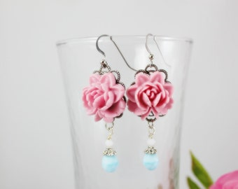 Pink Rose with baby blue czech beads Earrings.  Gift for her. Birthday, Maid of Honor