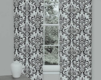 """Two 50"""" wide custom made curtain panels drapes black and white, traditions damask,"""