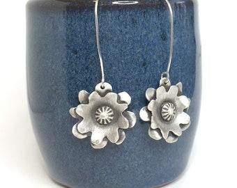 Flower Earrings, Sterling Silver Flowers, Dangle Flower Earrings, Artisan Jewelry, Handmade Earrings, Nature Jewelry, Ready to Ship