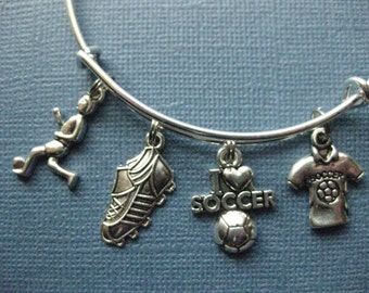 Soccer Bangle - Soccer Charm Bracelet - Soccer Jewelry - Charm Bracelet - Sports Bangle - Bangle - Soccer -- B122