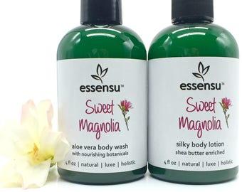 Sweet Magnolia Shea Butter Botanical Body Lotion and Aloe Vera Body Wash Duo | No Sulfates | Save on Set | Seen In Splash Magazine - 4 oz ea