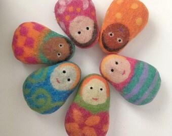 Matryoshka doll, unique felt stuffed toy, handmade toy, soft sculpture, eco friendly, stocking stuffer, pocket toy