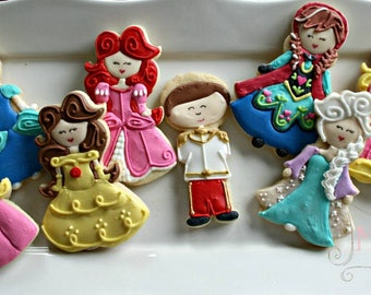 Disney Princess Cookies-Elsa Cookie, Ana Cookie, Tinkerbell Cookie, Cinderella Cookie, Sleeping Beauty Cookie