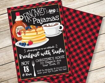 Pancakes & Pajamas Invitation - Breakfast with Santa, Lumberjack Breakfast, Pancake Party | DIY Editable Text INSTANT DOWNLOAD Printable
