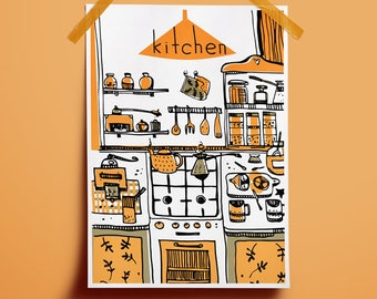 Poster decor kitchen Sweet home decor Kitchen illustration Coffee art download Print yellow kitchen Coffee art poster Poster yellow black