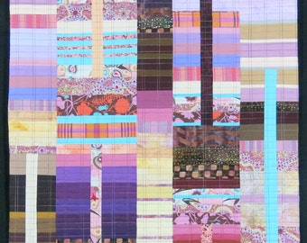 """Quilt Art, Art Quilt, Wallhanging. Rising #25 - Desert Light. 47""""H x 23""""W. Pieced and quilted in 100% cotton, hanging sleeve."""