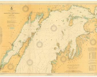 Lake Michigan Map - North End Historical Chart 1917