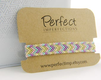 Pastel Chevron Friendship Bracelet / Handwoven Micromacrame String Bracelet / Stackable Aztec Friendship Bracelet / Perfect Best Friend Gift